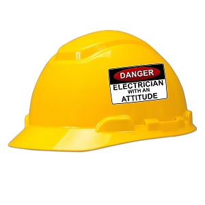 Danger Electrician With An Attitude Hard Hat Helmet Sticker